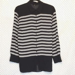 Talbots XL Top Navy Blue White Striped Long Sleeve